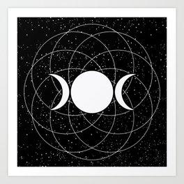 Triple Goddess Moon in Black and White Art Print