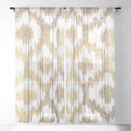 Modern white hand drawn ikat pattern faux gold Sheer Curtain