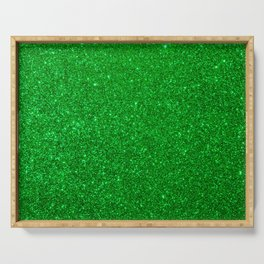 Emerald Green Shiny Metallic Glitter Serving Tray