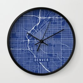 Denver Map, USA - Blue Wall Clock