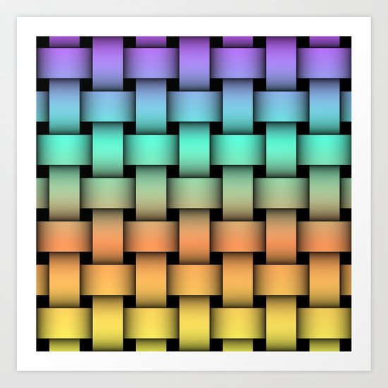 Weave Pattern - Purple/Teal/Orange/Yellow Art Print