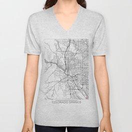 Colorado Springs Map White Unisex V-Neck