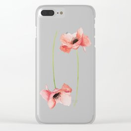 Paired Poppy Watercolor Flowers Clear iPhone Case