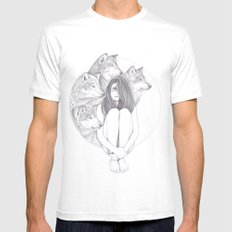 Company Of Wolves White MEDIUM Mens Fitted Tee