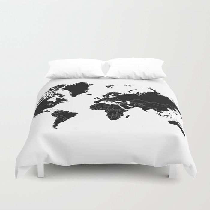 Minimalist world map black on white background duvet cover by minimalist world map black on white background duvet cover gumiabroncs Image collections