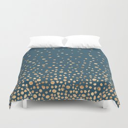 Chic Gold and Teal Rising Confetti Duvet Cover