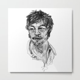 Norman Reedus in Black and White Metal Print
