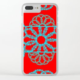 Turquoise & Red Overlapping Scalloped Links & Rings Clear iPhone Case