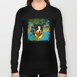 border collie jumping in water vector art Long Sleeve T-shirt