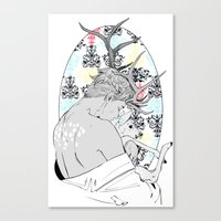 fawn Canvas Prints featuring Fawn by Cassandra Jean