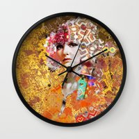 rose gold Wall Clocks featuring Rose. Gold by Steve W Schwartz Art