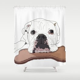 English Bulldog and Toy Shower Curtain