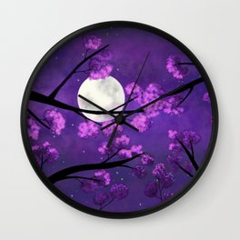 Under the sakura trees Wall Clock