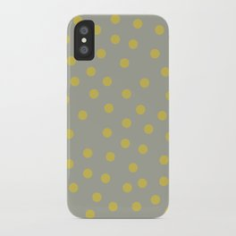 Simply Dots Mod Yellow on Retro Gray iPhone Case