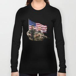 Presidential Soldiers: Ronald Reagan & Donald Trump USA Flag Long Sleeve T-shirt