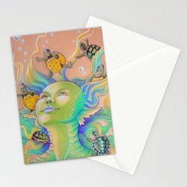 Mermaid With Baby Turtles Drawing Stationery Cards