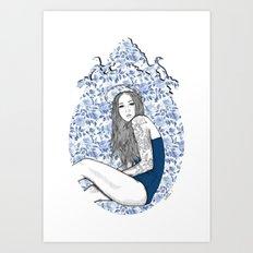 Blue frame Art Print