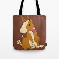bull terrier Tote Bags featuring Bull Terrier by Kristen Rimmel