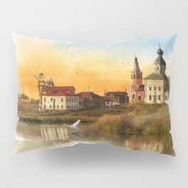 The Church of Elijah the prophet on mount Ivan in Suzdal. Evening landscape. The Golden Ring Of Russ Pillow Sham