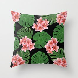 Tropical Floral Print Black Throw Pillow