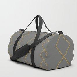 Moroccan Diamond Stripe in Grey Mustard Duffle Bag
