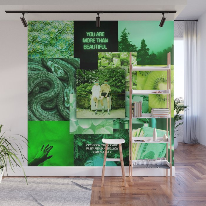Green Love Aesthetic Collage Wall Mural By Ethannguyen2020 Society6