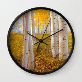 Aspens In Autumn, Utah Wall Clock