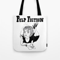 pulp fiction Tote Bags featuring Pulp Fiction by ☿ cactei ☿