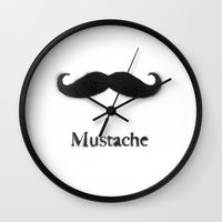 mustache Wall Clocks featuring Mustache by Connor Resnick