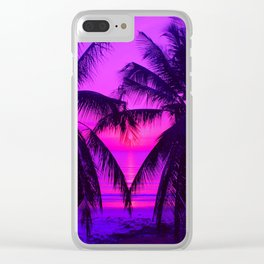 Pink Palm Trees by the Indian Ocean Clear iPhone Case