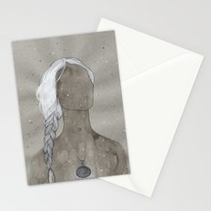 girl with silver oval telkari necklace Stationery Cards