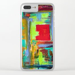 The never ending Maze: Bright Multi Color Abstract Painting Clear iPhone Case