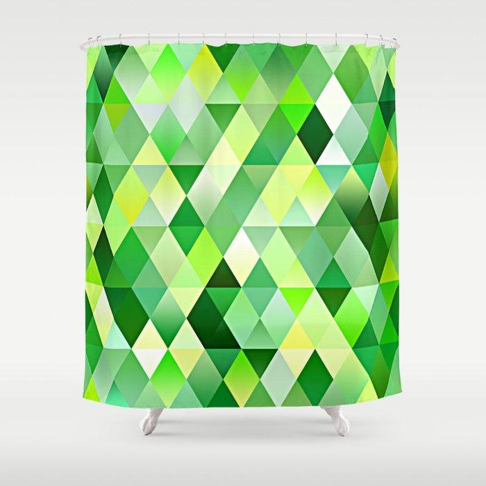 Lime Green Yellow White Diamond Triangles Mosaic Pattern Shower Curtain