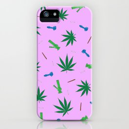 Weed Leaf, Bongs, Pipes, Joint, Blunts Pattern iPhone Case