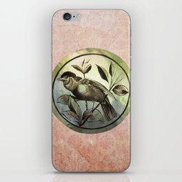 Bird on green glass iPhone Skin