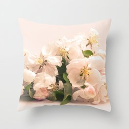 White flowers, spring photography Throw Pillow