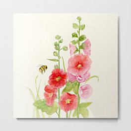 Watercolor Flower Pink Hollyhock and Bee Metal Print