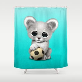 White Lion Cub With Football Soccer Ball Shower Curtain