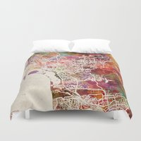 san diego Duvet Covers featuring San Diego by MapMapMaps.Watercolors