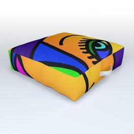Pop Art Girl Outdoor Floor Cushion