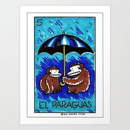 Loteria Ape #5: El Paraguas Art Print