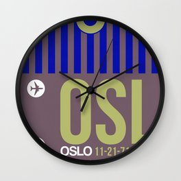 OSL Oslo Luggage Tag 2 Wall Clock