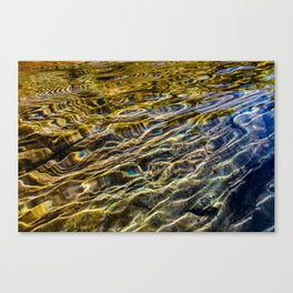 Prismatic Waves in Blue Gold and Green Canvas Print