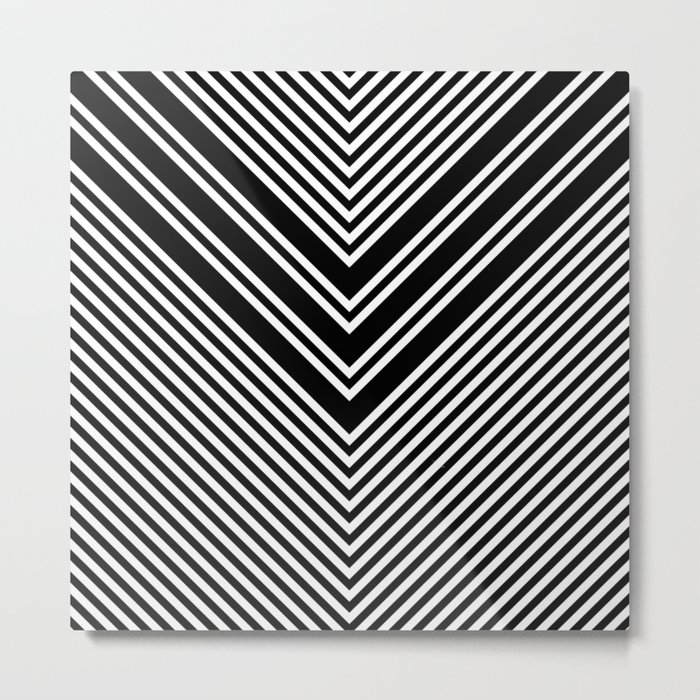 Back and White Lines Minimal Pattern No.1 Metal Print