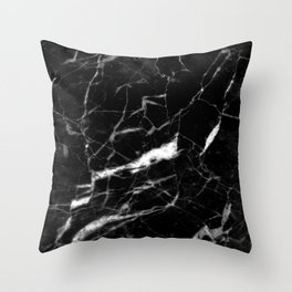 modern chic minimalist abstract black marble Throw Pillow