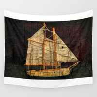 sailboat Wall Tapestries featuring Rustic Sailboat by Michael P. Moriarty