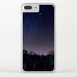 Star Night Sky Purple Hes With Forest Silhouette Clear iPhone Case