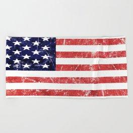 American Grunge Flag Beach Towel