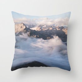 Up above the alpine sea of clouds Throw Pillow