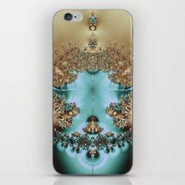 Elegant Royal Gold and Aqua Abstract iPhone Skin